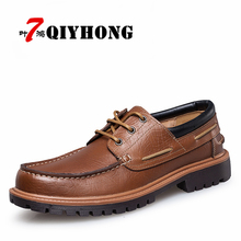 Hot New Fashion Men Casual Leather Shoes Genuine Leather Men's Flats Black Brown Comfort Business Dress Round Toe Oxford Shoes