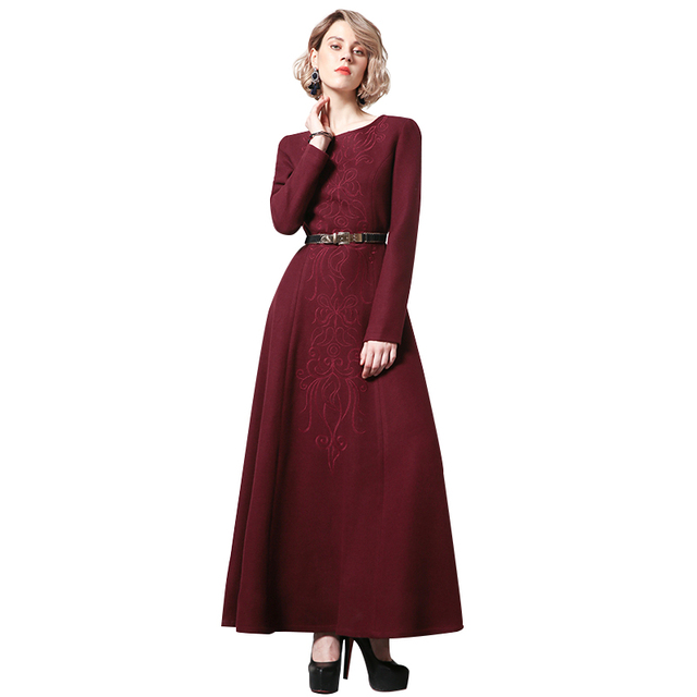 1d32898b494 Winter Embroidery Wool Long Dress O-Neck Red Dress New Year Party Night Maxi  Dress Evening Clothing Muslim Dresses DH1067