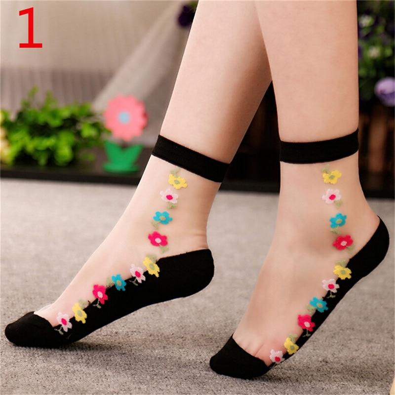 1pair Crystal Glass Silk Short Thin Flower Women Lace Socks Transparent Roses Sock For Female Women Girls