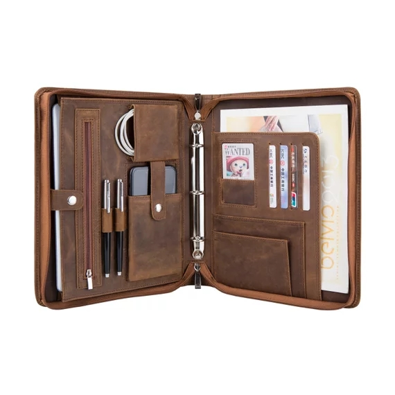 f8e871d0d4b0 US $115.0 |iLooker 3 Ring Binder Crazy Horse Leather Portfolio; Tablets  Holder Padfolio Case; Professional Business Organizer-in Tablets & e-Books  ...