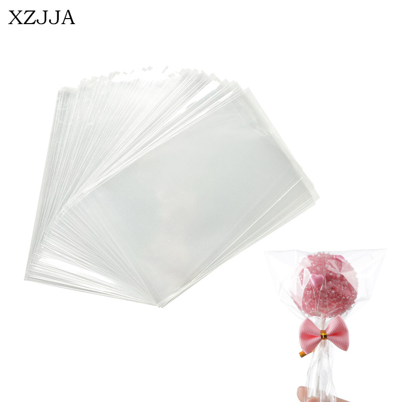 100PCS Transparent Cookie Lollipops Candy Bag Wedding Party Supplies Clear Gift Bag Biscuits Snack Baking Packaging Plastic Bags