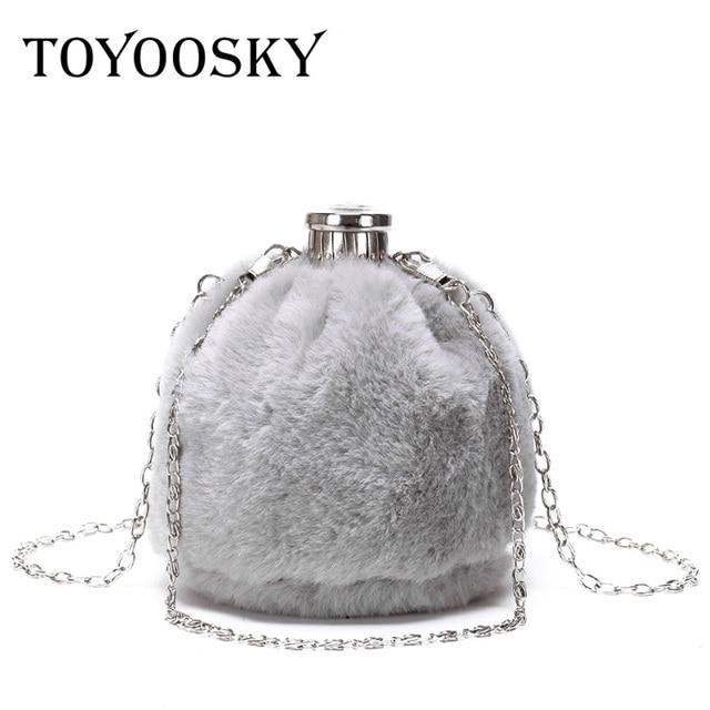 718dc98e8f TOYOOSKY 2018 Hot Sale Fashion Mini Women Chain Messenger Bags Faux Fur  Perfume Bottle Ladies Crossbody Bag Bucket Clutch Bag