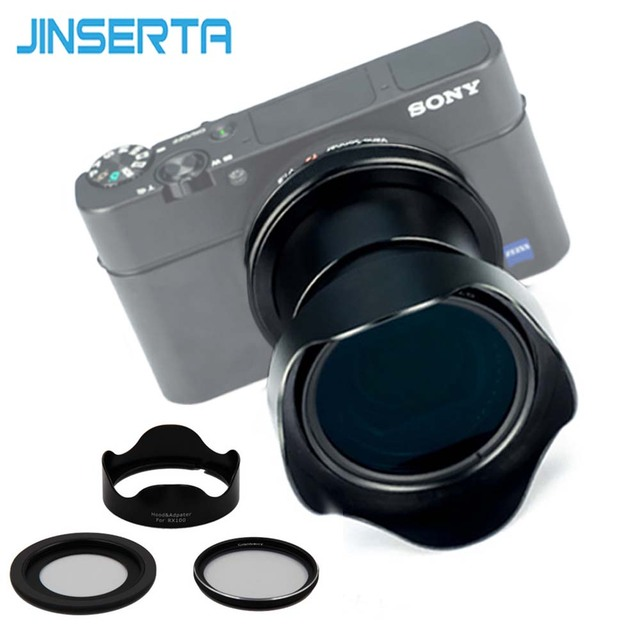 JINSERTA 46mm UV Filter + Lens Hood + Adapter Ring for Sony RX100 M6 Camera Sony RX100 Series Camera Accessories
