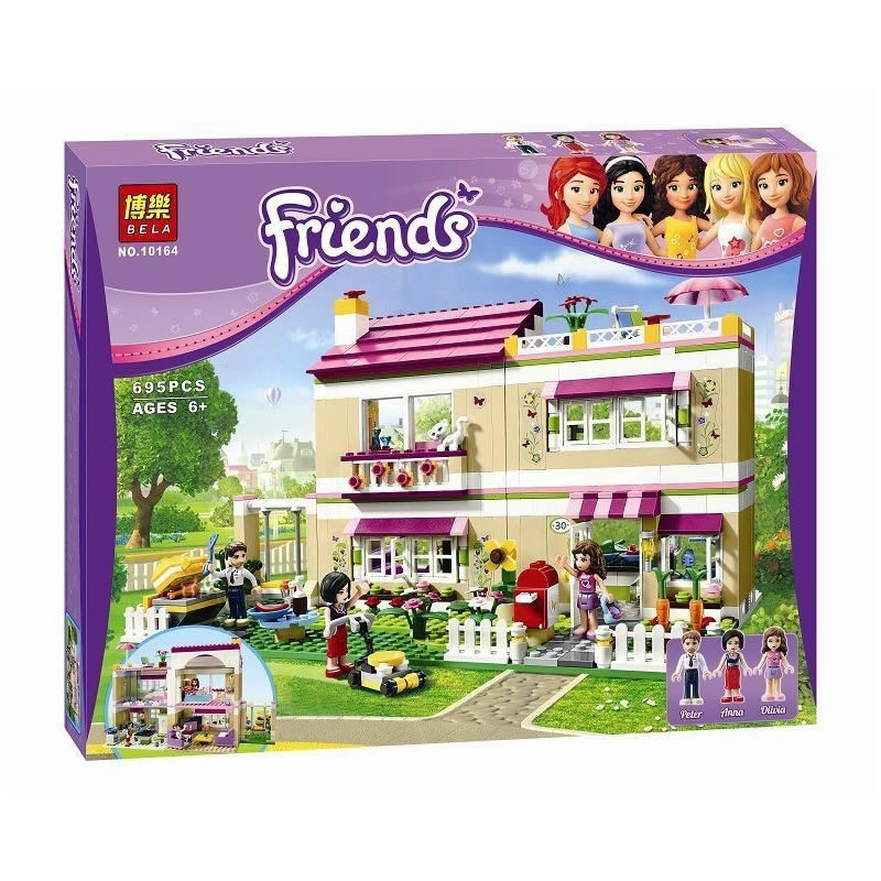 Bela 10164 compatiable with lepin Friends Olivia's House building bricks blocks Toys for children Girl Game Castle Gift 3315 10162 friends city park cafe building blocks bricks toys girl game toys for children house gift compatible with lego gift