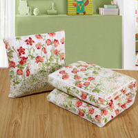 Floral Design Cushion Blanket Thin Quilt Multifunction 2 in 1 Car Back Lumbar Throw Pillows Home Office Chaise Lounge Chair Pads