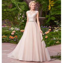 Verngo 2019 Romantic Ballgown Wedding Dress Lace Appliques Gowns Illusion Back Princess Bride Suknia Slubna