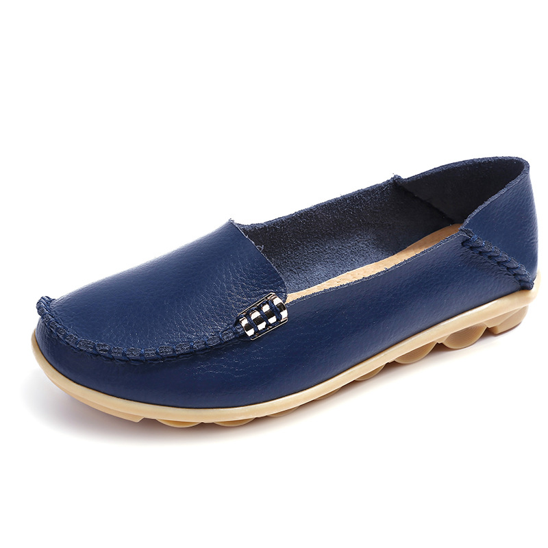 Shoes Women Moccasins Soft Slip-On Genuine-Leather Ladies New 35-44 Casual Plus-Size
