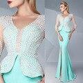2016 Vestidos de Noite V Pescoço De Cetim Verde Menta Longo de Cristal pérolas Beading Sereia Peplum Dividir Prom Vestidos Plus Size Formal vestido