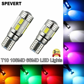 SPEVERT T10 5630 6/10 SMD Bulbs 501 W5W Car LED Side Light White Ice Blue Red Green Yellow Canbus Error Free Car Parking Lamp image