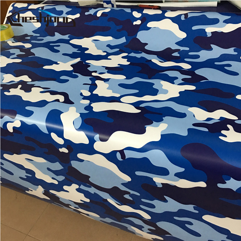 Blue White Camo Vinyl Air Army Camouflage Printed Matte Finished Scooter Car Motorcycle Wrapping Vinyl Sheet Roll