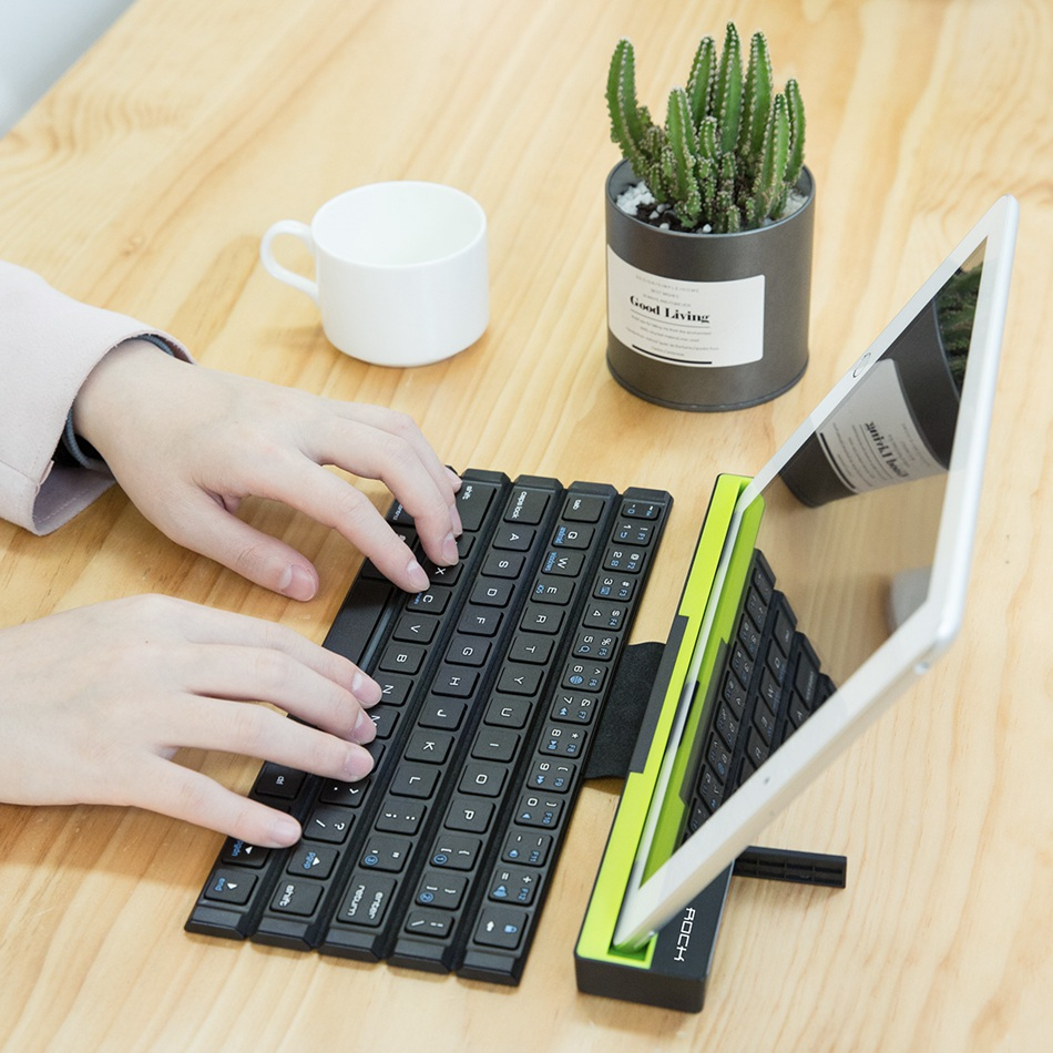 foldable bluetooth keyboard in use