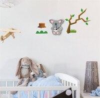3D Cartoon Wall Clock sticker Cute Koala Modern Silent Clocks For Keep Good Sleeping DIY Wall Clocks Home Decor B2159