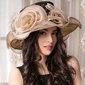 Mujeres Kentucky Derby Sombreros Sombreros de La Flor de La Boda de Encaje Negro Grande Ala Tapa