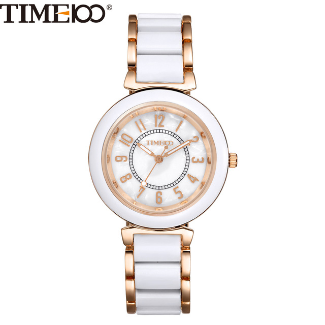 Fashion Women Luxury Watch Alloy Simulated Ceramic Strap Shell Dial Ladies Quartz Watch Casual Bracelet Brand Watches W0176 alexis brand silver white shell dial violet crystal ceramic water resistant bracelet watch women ladies watches horloge dames