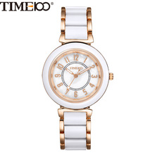 Fashion Women Luxury Watch Alloy Simulated Ceramic Strap Shell Dial Ladies Quartz Watch Casual Bracelet Brand Watches W0176