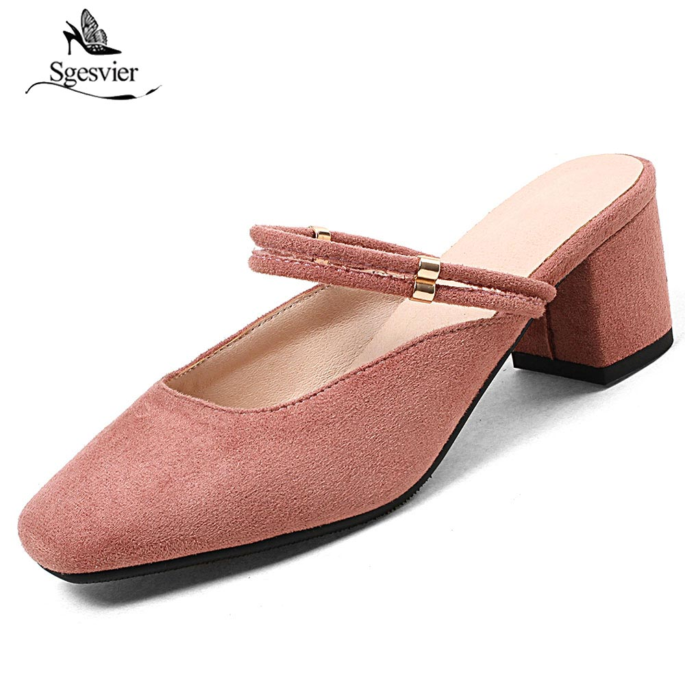 SGESVIER New Summer High Quality Square Toe Shoes Women Sandals Ladies Thick Heels Pink Black Apricot OL Causal Shoes OX393