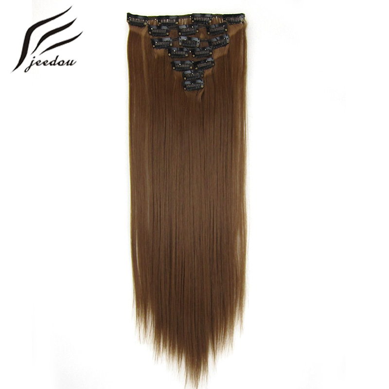 jeedou Clip In Hair Extenson Womens 2255cm Long Straight False Hair Brown Color Synthetic Hairpiece