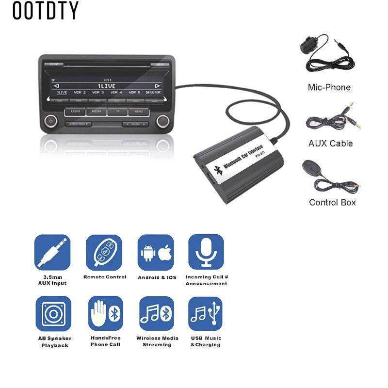 OOTDTY New Hot 1 Set Handsfree Auto Car Bluetooth Kits Music MP3 AUX Adapter Interface USB