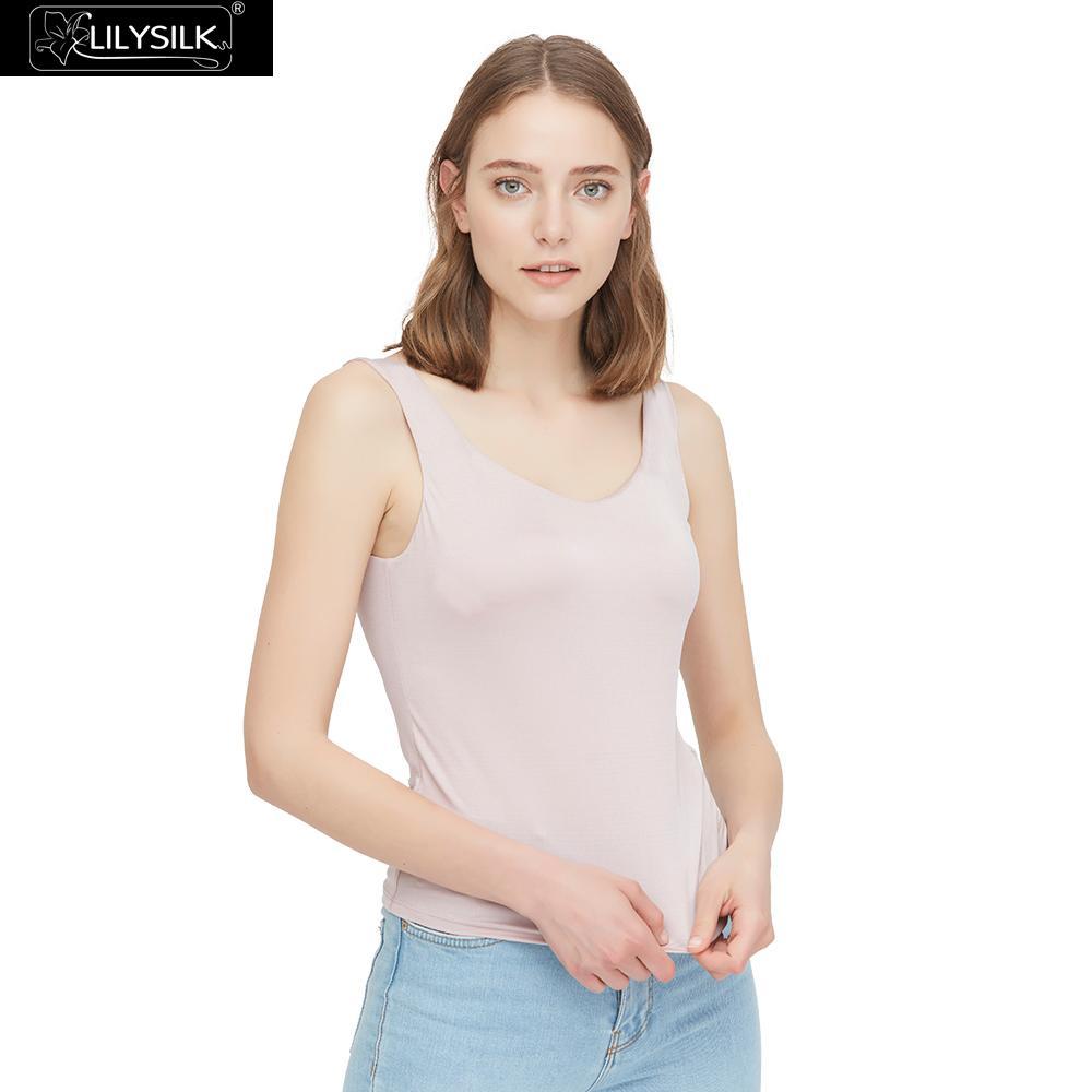 LilySilk Top soie confortable rembourré réservoir doux livraison gratuite-in Camisoles from Mode Femme et Accessoires    1