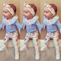 2016 Autumn Baby Girl Clothes 3pcs Headband T Shirt Floral Pants Flower Band T Shirt Pants