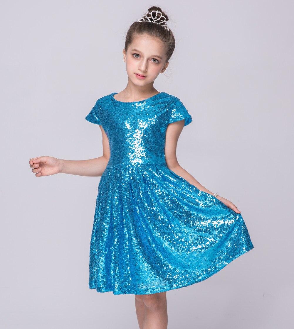 Kinder Knielangen Blau Pink Rosa Bling Bling Party kleider Kinder ...