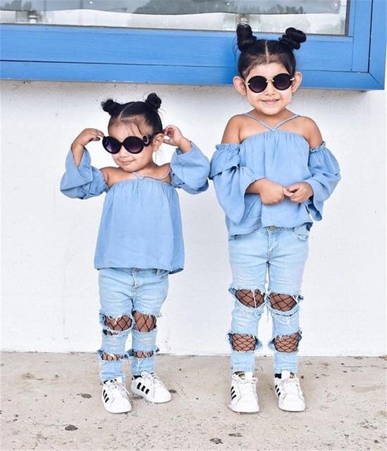 cb6c46ba0 Toddler Kids Baby Girls Clothes Set Blue Off Shoulder Tops Denim Mesh Hole Jeans  Girl Clothing