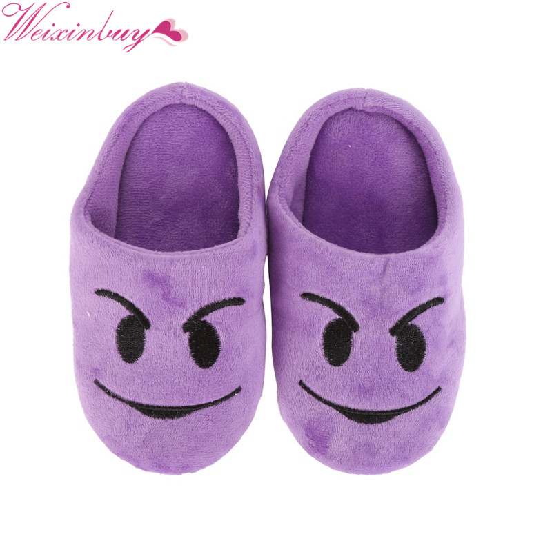 New Style  Children Flat Heels Cute Winter Warm Kids Fashion Expression Package Cotton Face Section Cool Style Slippers