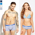 Hot New Couple Modal Striped Printed Underwear Male Anchor Soft Breathable Fashion Sport Boxer Women Soft Sexy Brief S-XXL