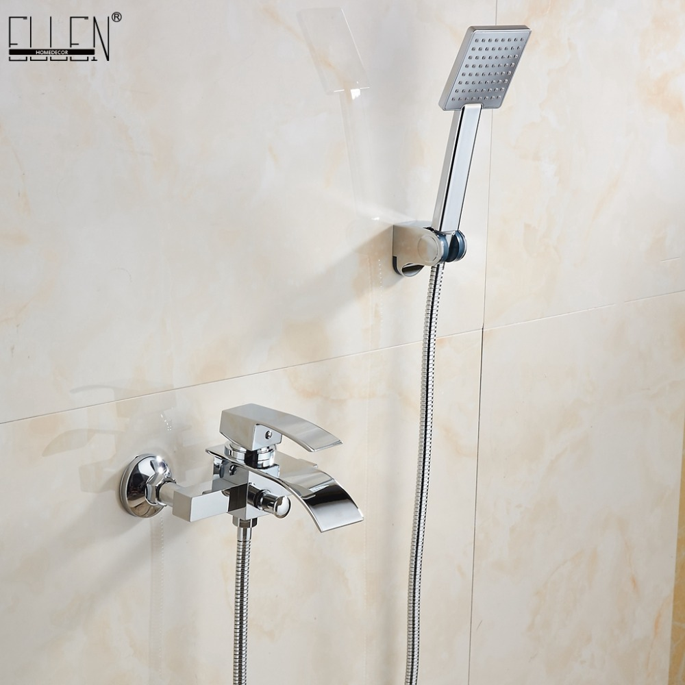 Wall mounted waterfall bathtub faucet bath shower Classic Chrome Plated faucets hot and cold solid brass with hand shower 5036Wall mounted waterfall bathtub faucet bath shower Classic Chrome Plated faucets hot and cold solid brass with hand shower 5036