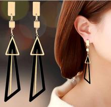 цена на Brand Fashion Hot Wild Temperament Long Geometry Triangle Tassel Drop&Dangle Earrings Earrings Women Jewelry Gift