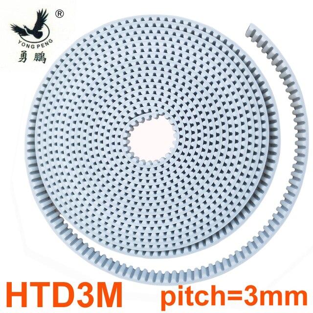 10 metros HTD3M ancho de la correa de distribución 15 20 30mm Color blanco PU poliuretano con núcleo de acero HTD 3 M polea de correa abierta de 3mm