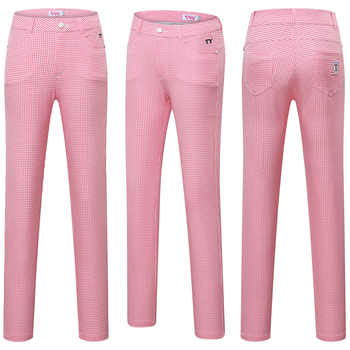 Women Plaid Golf Pants Woman Check Print Slim Trousers Ladies Soft Breathable High Waist Tennis Training Clothing D0675