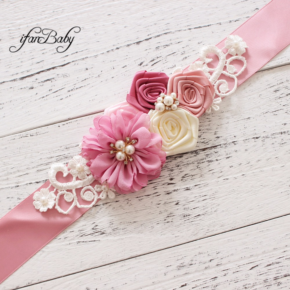 Fashion wedding Sashes rhinestone Pattern fabric flower sashs