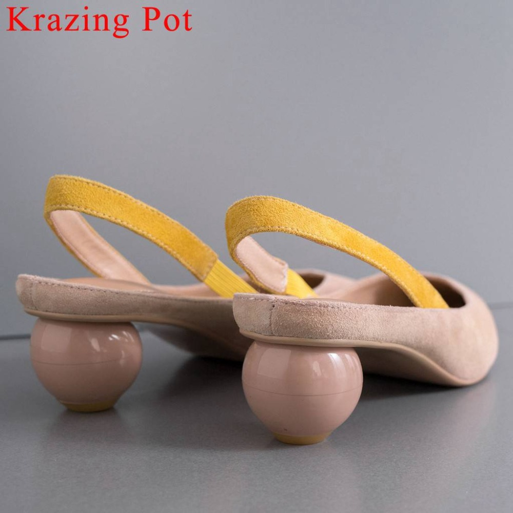 Krazing Pot art design genuine leather mixed colors pointed toe slip on women sandals movie star