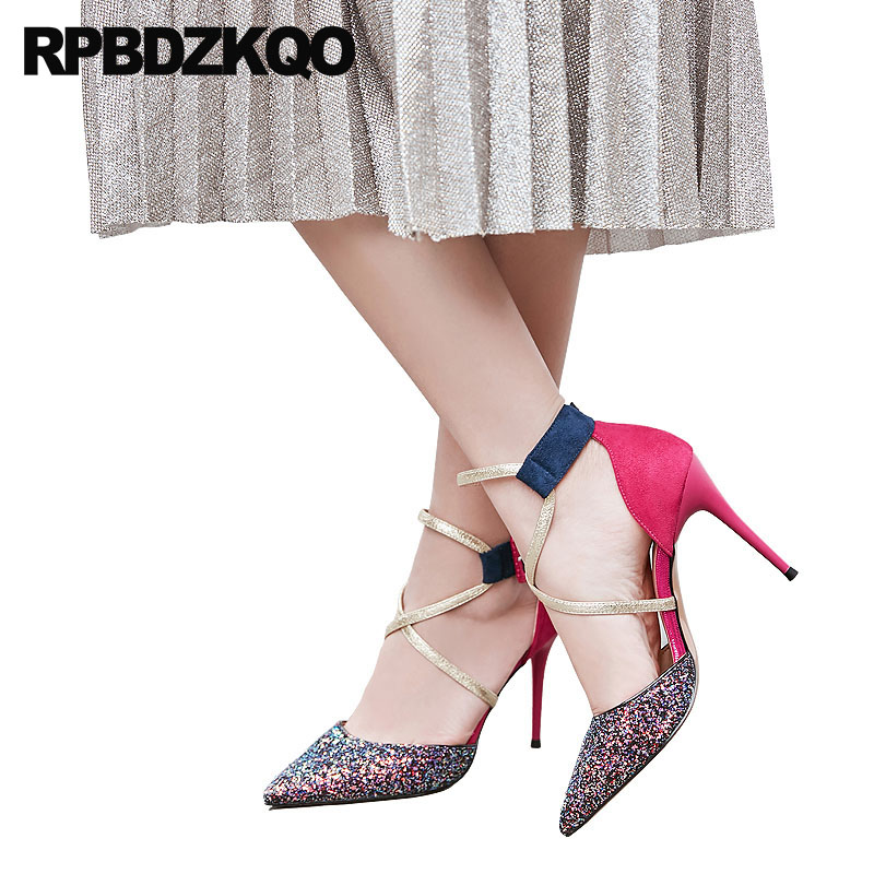 07bd36594 4 Inch Heels Wedding Shoes Sandals Suede Glitter Pumps Pointed Toe 3 Strap  Ladies Multi Colored