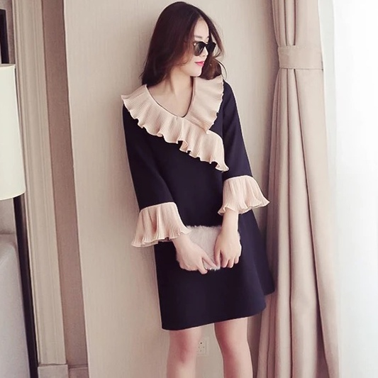 4xl plus big size women clothing 2017 spring autumn winter korean vestidos v neck thin cute