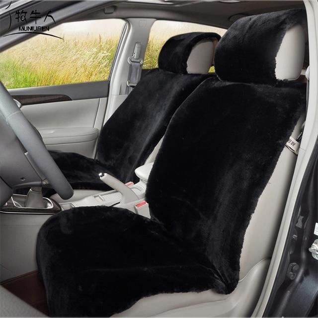 MUNIUREN High Quality Plush Car Seat Covers Thicken Faux Fur Cushion Universal Fit Automobile