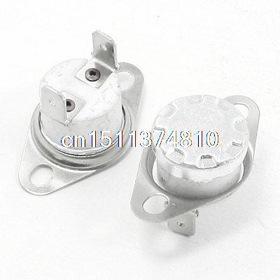2 Pcs 185 Celsius NC Bent Foot KSD301 Ceramic Thermostat Switch 10A AC 250 Volt ac 250v 10a 7 celsius bimetal refrigerators defrost thermostat fusen13 4
