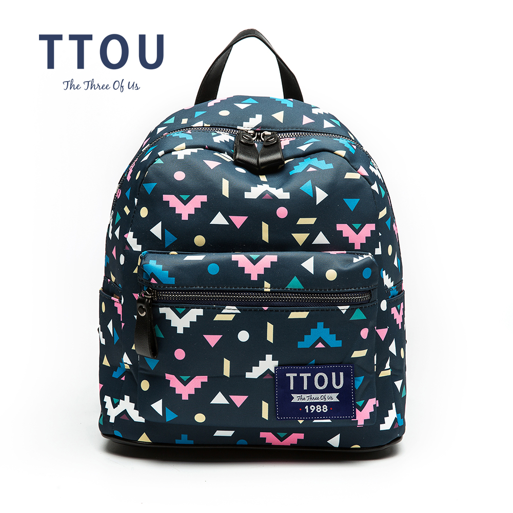 Ttou Designer Colorful Triangle Printing Backpack