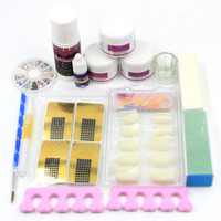 Pro Acrylic Powder Nail Lỏng Mẹo Pháp Nail Dẫn Sticker Hình Thức Sanding Khối Toe Separators Nail Art Tool Set DIY Mẹo Kit