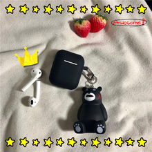 Cute 3D Cartoon Silicone Kumamoto Keychain Key Holder Car Bag Pendant Charms Fans Fashion Gift With Airpods Case