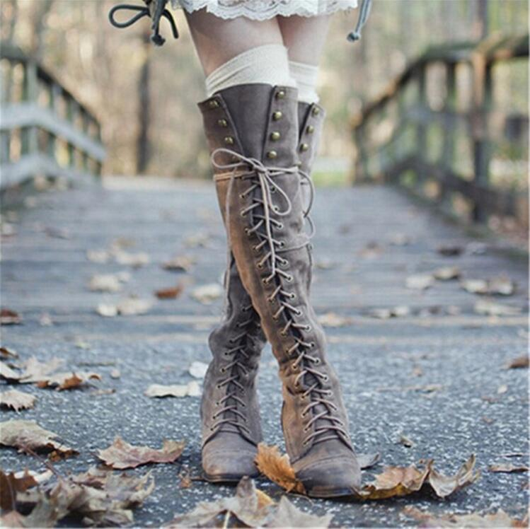 Фото 2018 Mid Heel Grey Black Leather Cowboy Women Boots Retro Autumn Winter Boots Lace Up Knee High Boots Shoes Woman Botas Mujer