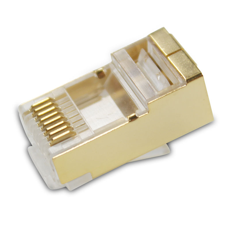 50pcs 100pcs gold rj45 connector cat6 cat6a shielded ftp rj45 plug network modular plug  ...