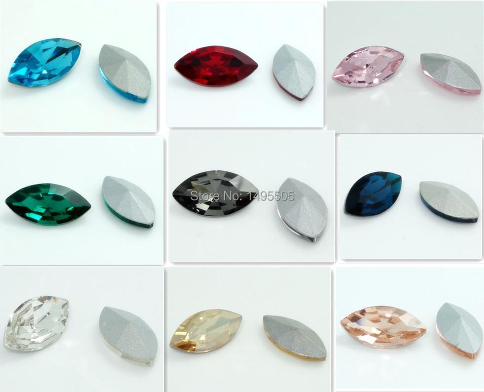 10pcs Maeyes Crystal rhinestones Silver Bottom beads 10*18MM Multicolor