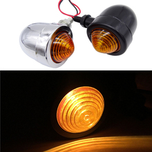 цена на 1 pair Motorcycle Chrome Bullet Turn Signals indicator Light For Harley Kawasaki Honda Suzuki Yamaha Cruiser Chopper Cafe Racer
