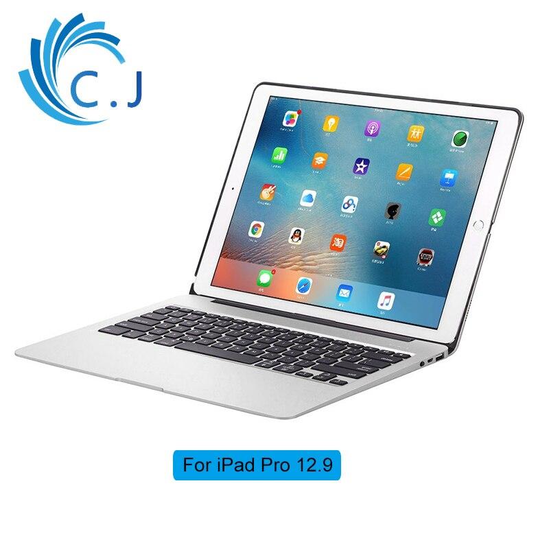 Pour APPLE iPad pro 12.9 Bluetooth clavier sans fil avec couvercle en alliage d'aluminium, 7 couleurs rétro-éclairé, batterie externe 5200 mah