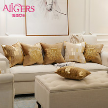Avigers Embroidery Velvet Cushion Cover Luxury European Pillow Cover PillowCase Geometry Home Decorative Sofa Chair Throw Pillow(China)