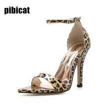 leopard sandals high heels Stilettos women's shoes 2019 summer Classic Dress shoes Pointed toe strap sandals for girl ladies sho цена 2017