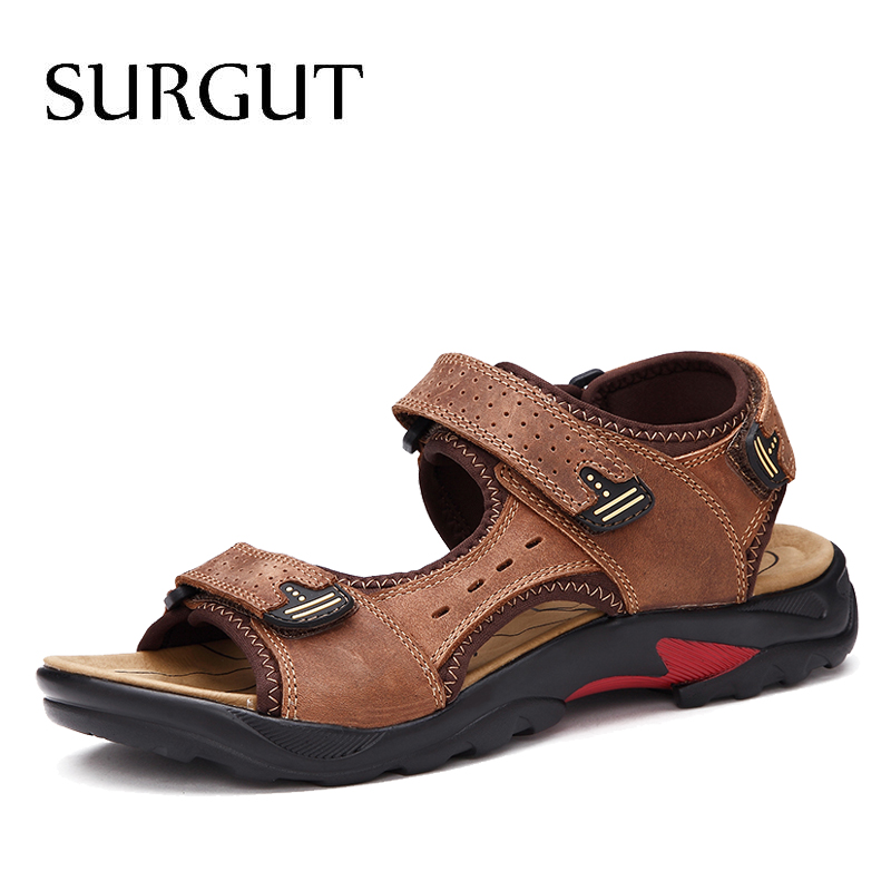 3f13b08803563 SURGUT Brand Men Summer Fashion Sandals Beach Shoes Genuine Leather  Comfortable Casual Shoes Men Roman Style
