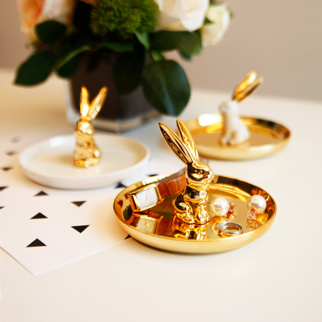 13x12cm Nordic gold plated rabbit ceramic plate ring jewelry tray ...